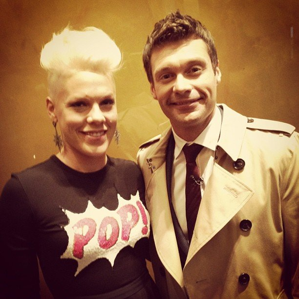 Ryan Seacrest snagged a pic with Pink after she performed for her fans in Rockefeller Center. Source: Instagram user ryanseacrest