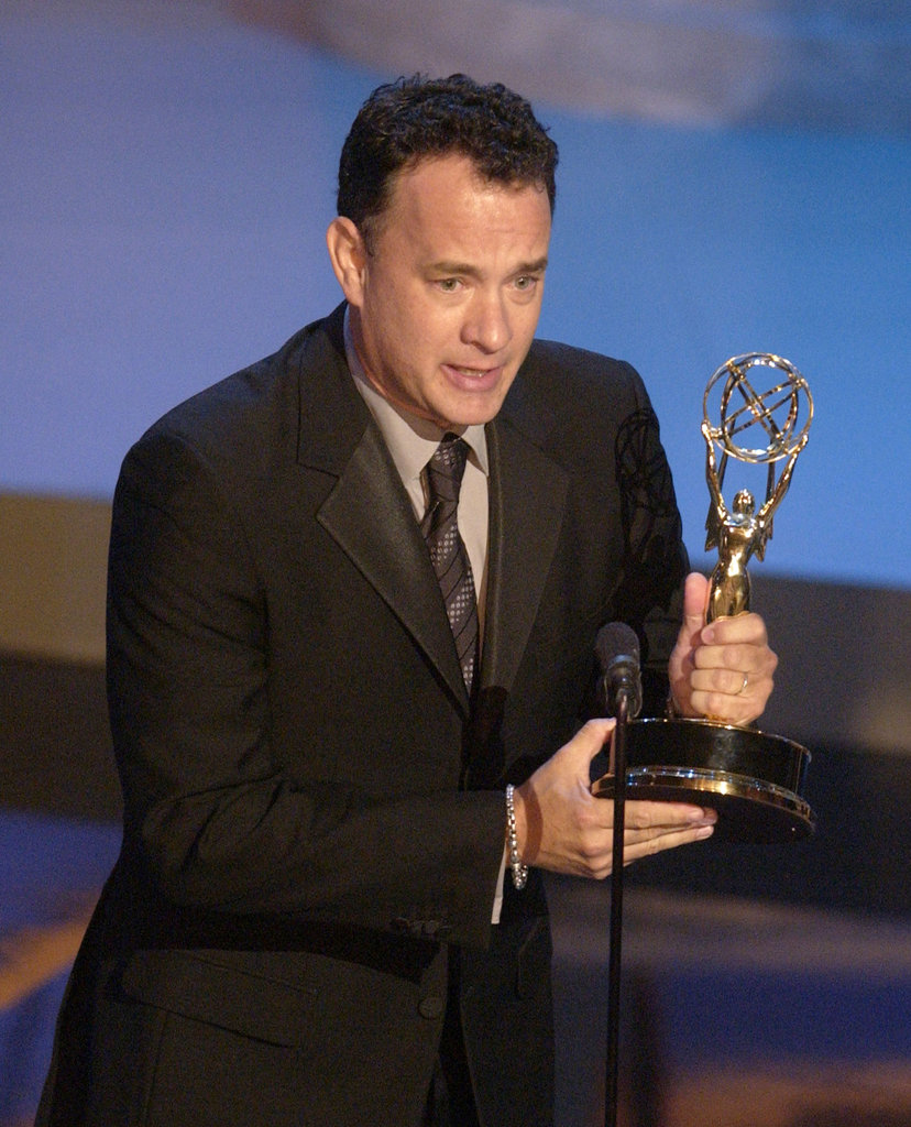 Tom Hanks accepted the award on behalf of Band of Brothers in 2002.