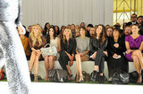 Kate Moss sat front row at the Mulberry show during London Fashion Week next to Alexa Chung and Lana Del Rey.