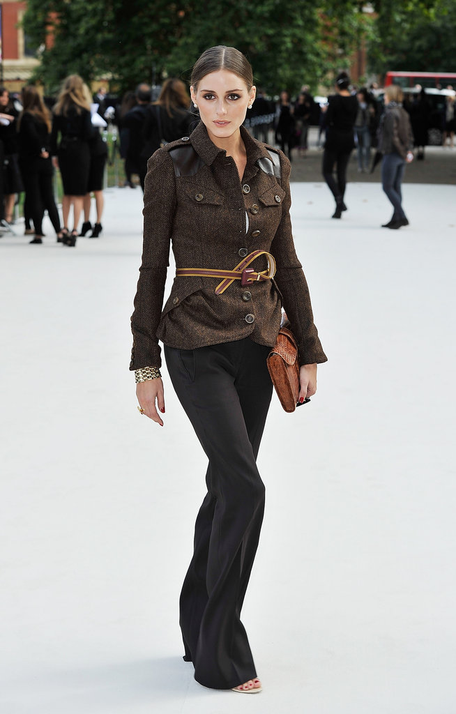 Olivia Palermo posed at the Burberry show in London.