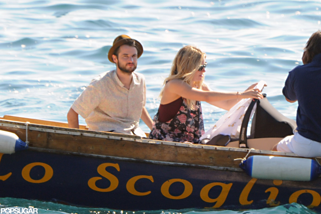Sienna Miller checked on baby Marlowe while on a boat with Tom Sturridge.