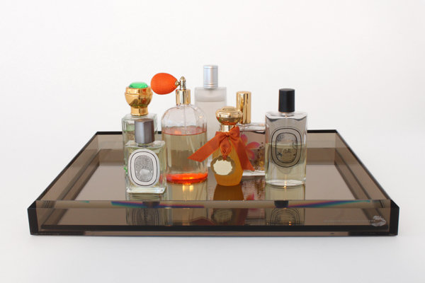 Show off beautiful perfume bottles by displaying them on a Vanity Mirror Tray ($358). This will sit well on top of a dresser or as a focal point in your master bathroom.