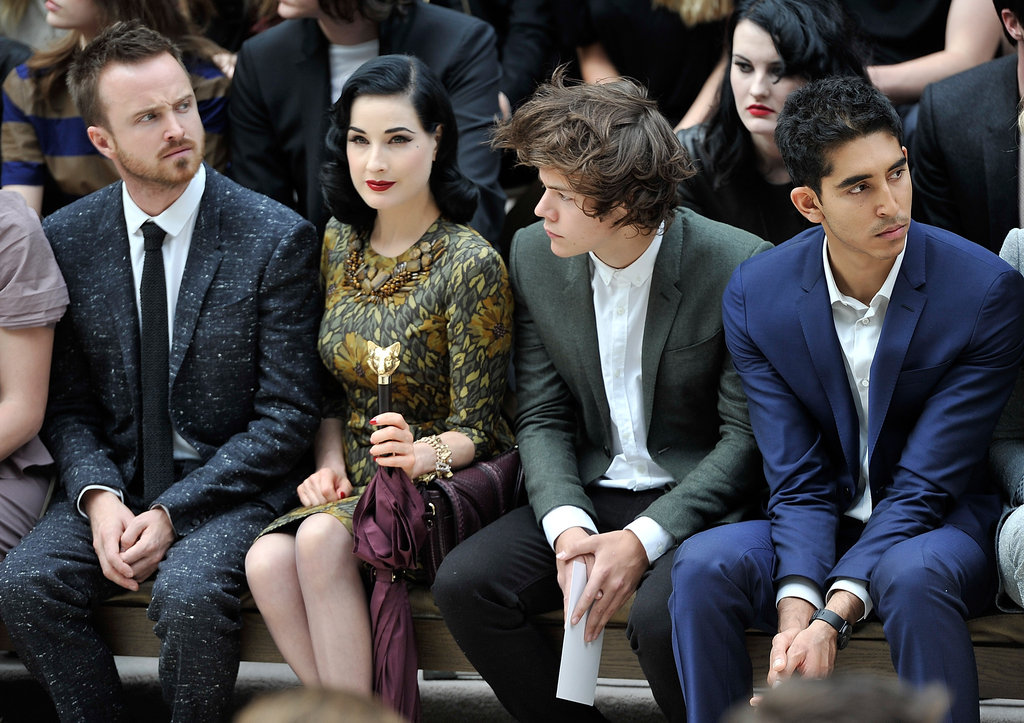 Aaron Paul, Dita Von Teese, Harry Styles and Dev Patel at Burberry