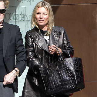 Kate Moss Wearing Black Leather Coat