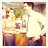 Angela Kinsey captured a cute moment between John Krasinski and Jenna Fischer.  Source: Instagram user angekinz