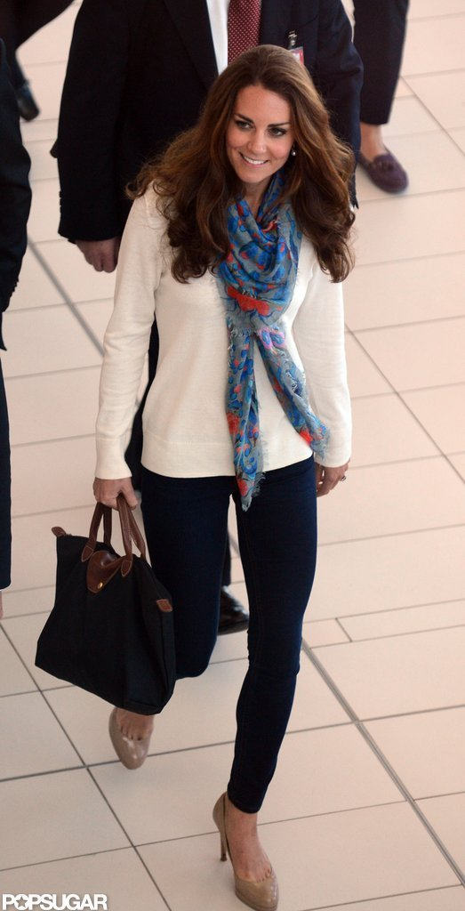 Kate Middlton changed from a dress into jeans and a sweater to travel back to London.
