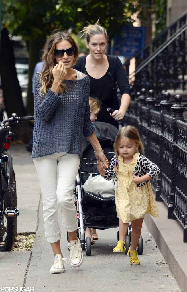 Sarah Jessica Parker walked down the street with her twins.
