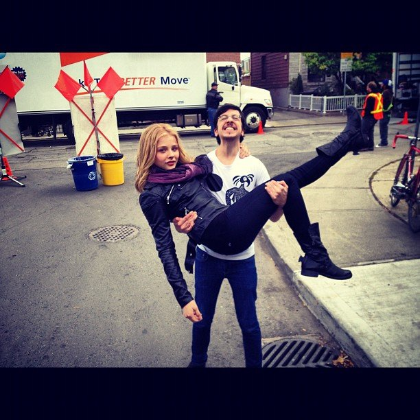 Christopher Mintz-Plasse showed off his superhuman strength by lifting Chloe Grace Moretz on the set of Kick-Ass 2. Source: Instagram user cmoretz