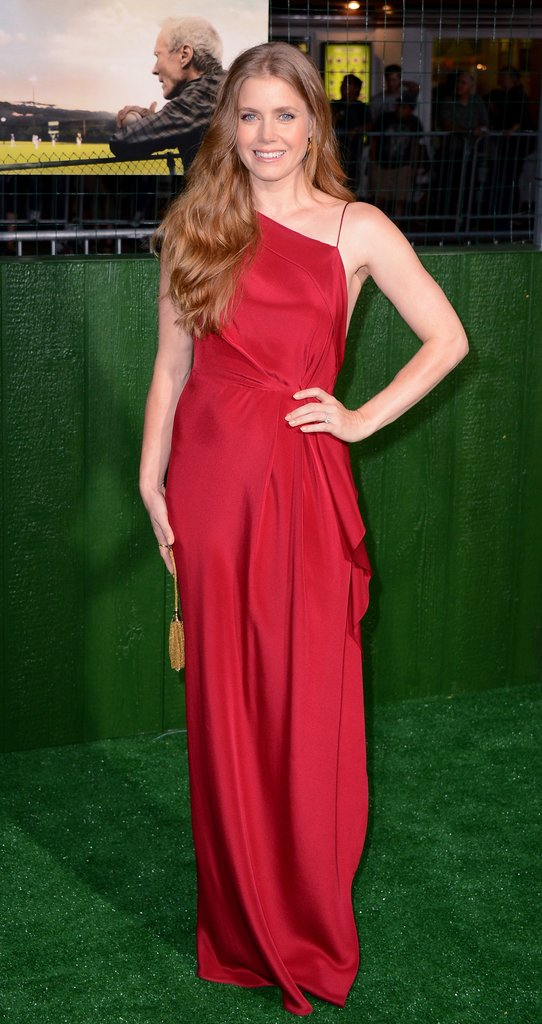 Amy Adams wore a bright red gown to pose for the Trouble With the Curve premiere in LA.