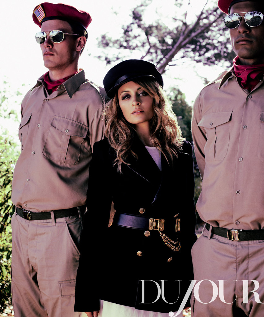 Nicole Richie channeled a military vibe in the October 2012 DuJour.