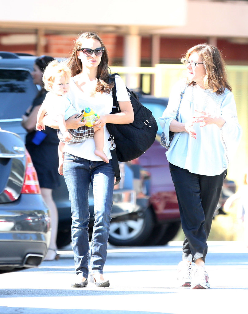 Natalie Portman chatted with a friend in LA.