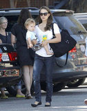 Natalie Portman carried baby Aleph Millepied as she sported a pair of flats in LA.
