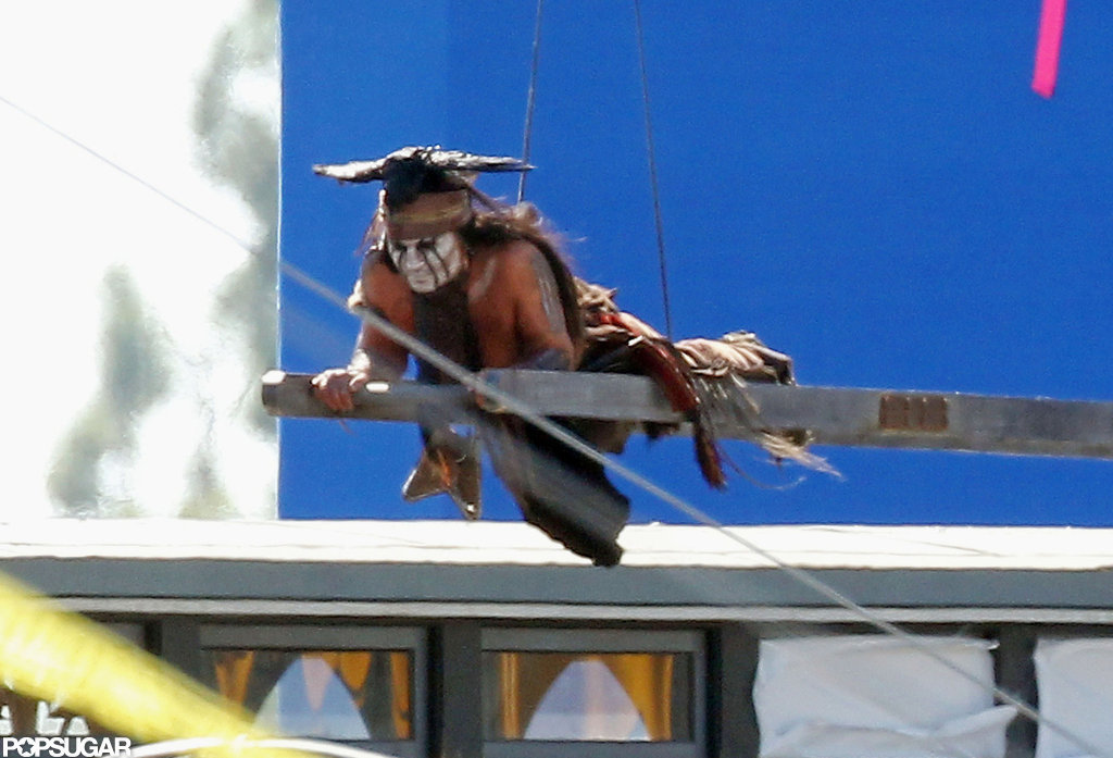 Johnny Depp worked on The Lone Ranger before a blue screen.