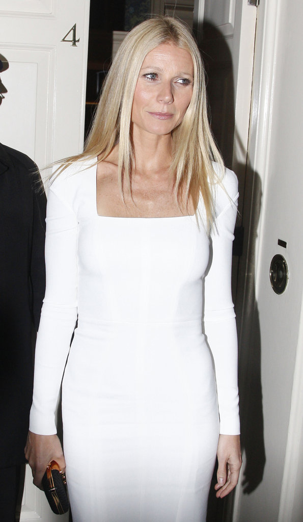 Gwyneth Paltrow wore a white Tom Ford dress for a dinner party in London.