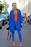 Cobalt blue and a pop of orange made a very styled pair.