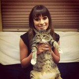 Lea Michele posed with Chris Colfer's cat, Brian. Source: Instagram user msleamichele