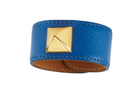 1990s Hermes Blue Leather Medor Cuff ($750)