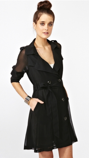 Sheer sleeves and chiffon make this a sleek evening outerwear option.  Nasty Gal Chiffon Trench ($68)