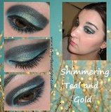 Shimmering Teal and Gold Eye Look