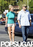 Britney Spears showed off her toned legs in short shorts and high heels.
