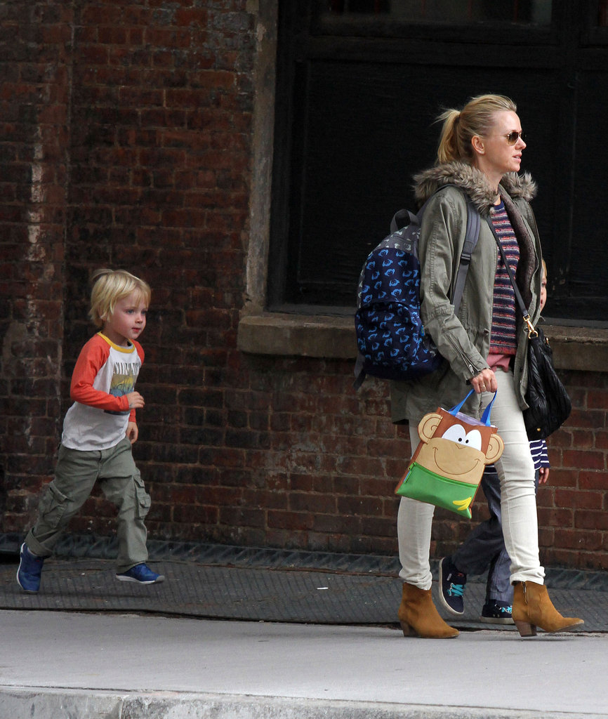 Naomi Watts made her way down the street with Kai Schreiber and Sasha Schreiber in tow.