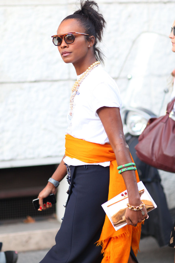 Quirky specs, a touch of tribal jewels and high-wattage color gave this t-shirt and skirt combo added interest.