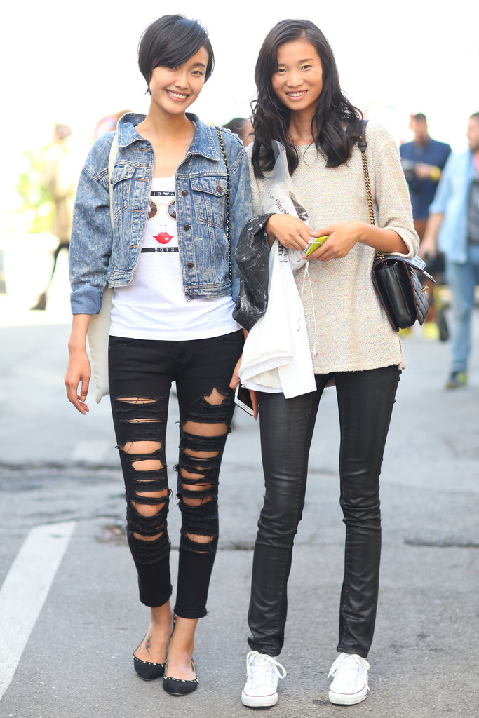 This duo played their casual looks with edgy touches — a pair of ripped denim and leather leggings, respectively gave each cool-girl appeal. Source: Greg Kessler