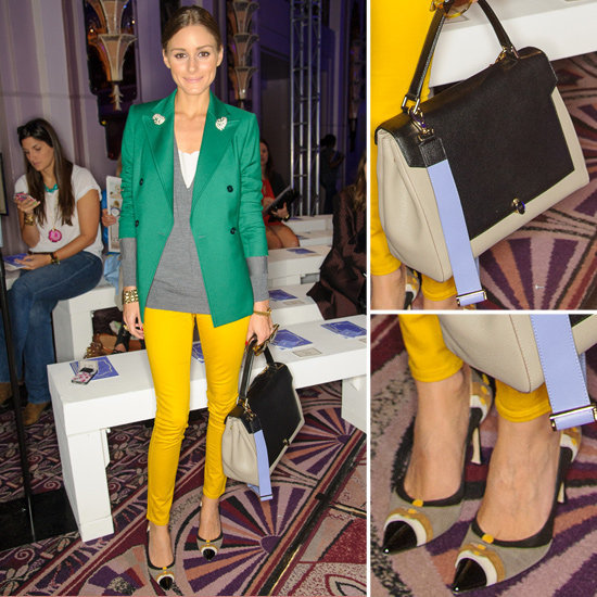 See how to style a green blazer with yellow denim and colorful pumps to channel Olivia Palermo's Fall-perfect duo for your next dinner date.