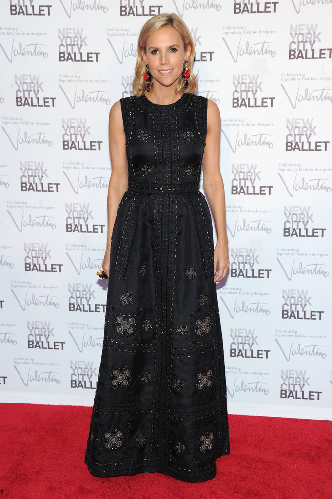 Tory Burch attended the festivities in a black embroidered gown.