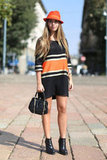 Bold stripes in a brilliant orange shade, no less, gave this outfit cool appeal.