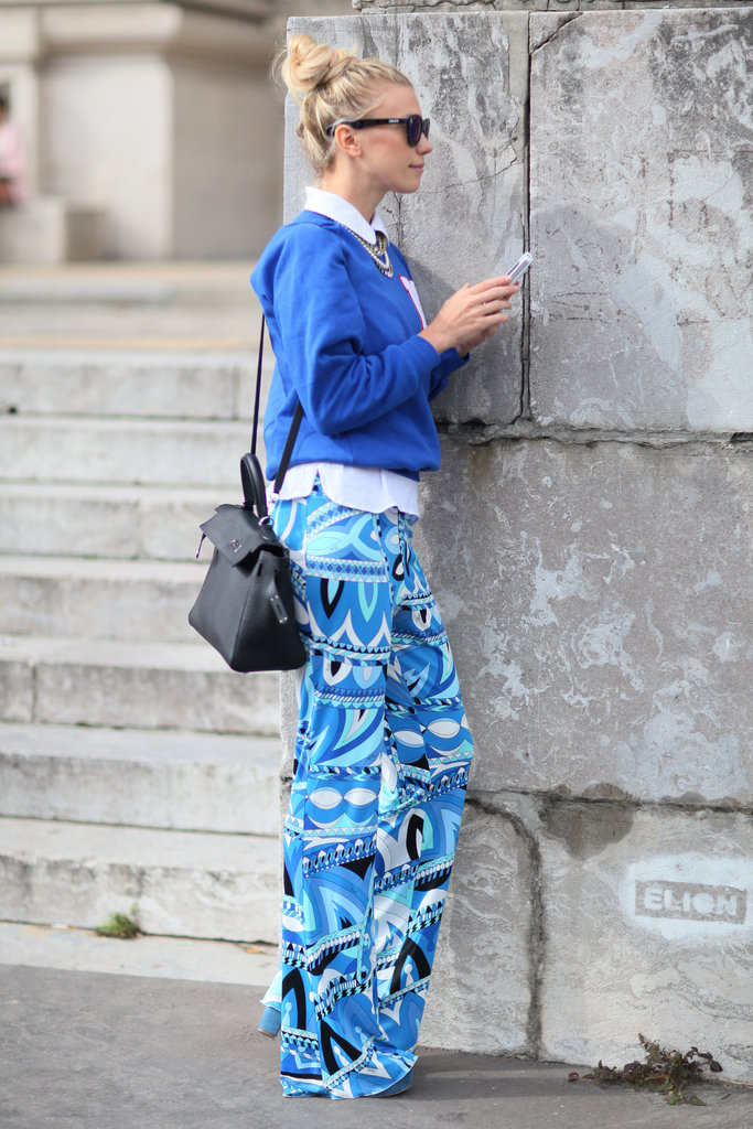Printed pants gave a classic knit a whimsical touch.