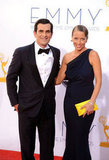 Nominee Ty Burrell walked the red carpet with his wife, Holly Burrell.