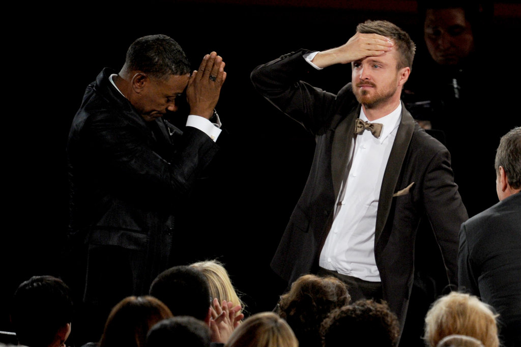 Breaking Bad costars Giancarlo Esposito and Aaron Paul looked shocked when Aaron won his Emmy.