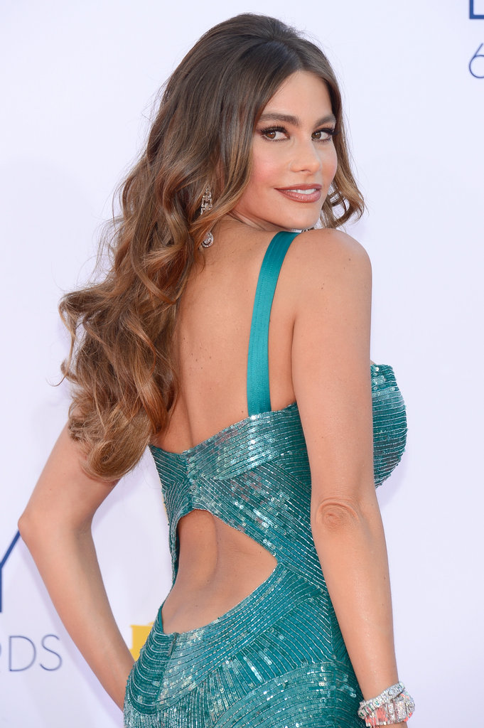 Modern Family's Sofia Vergara gave an over-the-shoulder glance.
