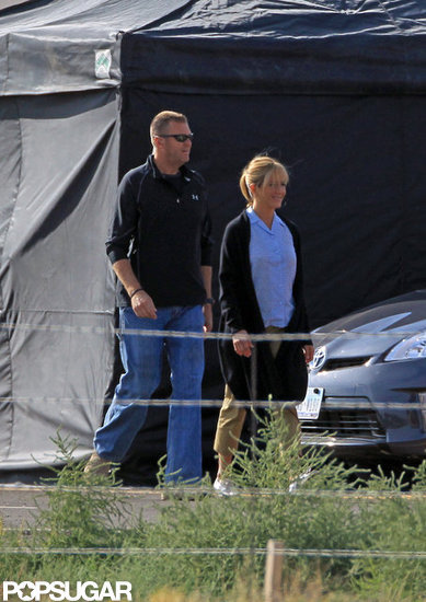 Jennifer Aniston wore her usual blue tank and khakis to film scenes for We're the Millers in New Mexico.