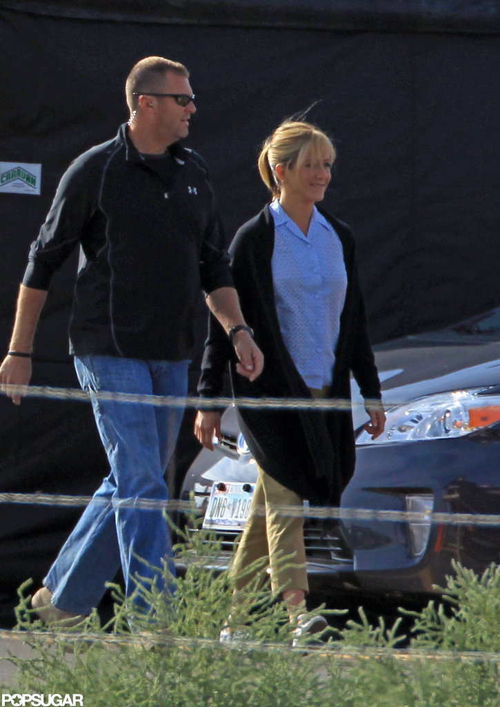 Jennifer Aniston walked onto the set of We're the Millers in New Mexico.