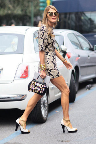 Anna Dello Russo in a flurry of prints and covetable accessories. Source: Greg Kessler