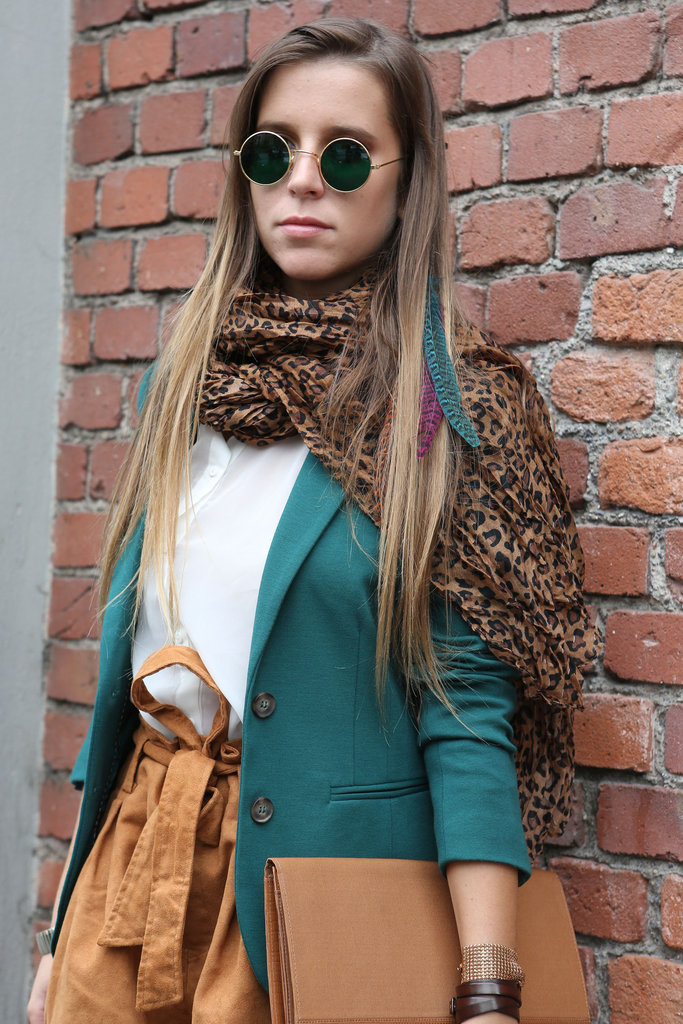 A leopard-print scarf added just enough oomph to a classic Fall palette. Source: IMAXtree