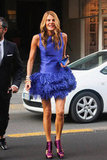 Anna Dello Russo doesn't hold back on the color front or, for that matter, the feathered front.