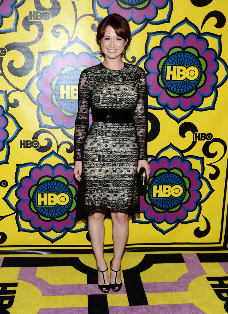 Ellie Kemper slipped into a sexier look than we're used to seeing from the Office actress, in a sheer-illusion black sheath.
