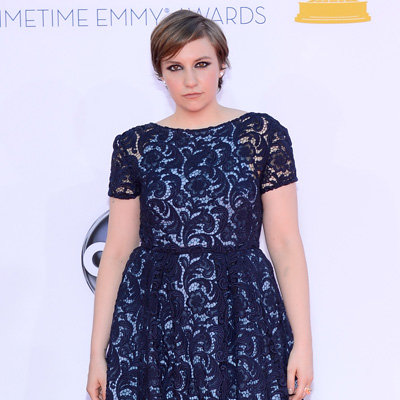 Girls Star Lena Dunham Pictures at 2012 Emmys in Navy Lace Prada Dress