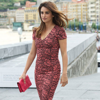 Penelope Cruz Wearing Floral Knee Length Dress