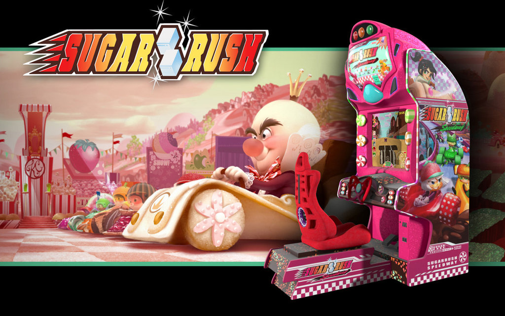 Here's your first look at Sugar Rush, an arcade game set in a world where the cars are made of desserts, but the racers aren't all sweet.