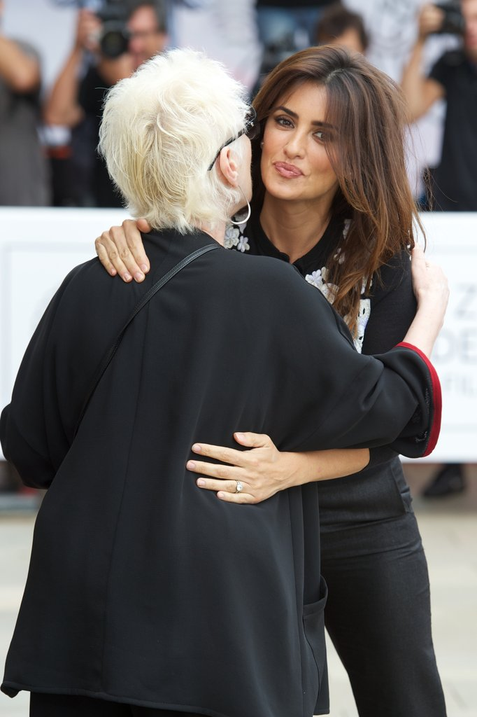Penelope Cruz went in for a hug in Spain.