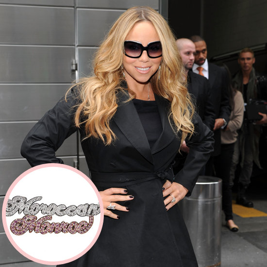 "Mariah Carey is known for her large jewelry collection, as well as her songbird voice, so her husband, Nick Cannon, had to work hard to find a unique gift for his wife after the birth of their twins, Monroe and Moroccan. He found it in a diamond-encrusted nameplate necklace featuring the kids' names. He said, ""It says 'Moroccan and Monroe' in pink-and-white diamonds. My wife has so much jewelry, so I've got be really creative when I give gifts."""