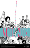 "The description for this AIGA Get Out the Vote poster by  	Susan LaPorte states, ""We must not take for granted the rights we have, but must continue the fight to keep what has been earned, as well as pass on a better place for the young women of tomorrow."""
