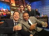 Jimmy Fallon toasted with Anthony Anderson, Jesse Bradford, and Zach Cregger on the set of Watch What Happens Live. Source: Andy Cohen on WhoSay