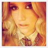 Ke$ha sported smoky eyes and a glittery necklace. Source: Instagram user iiswhoiis