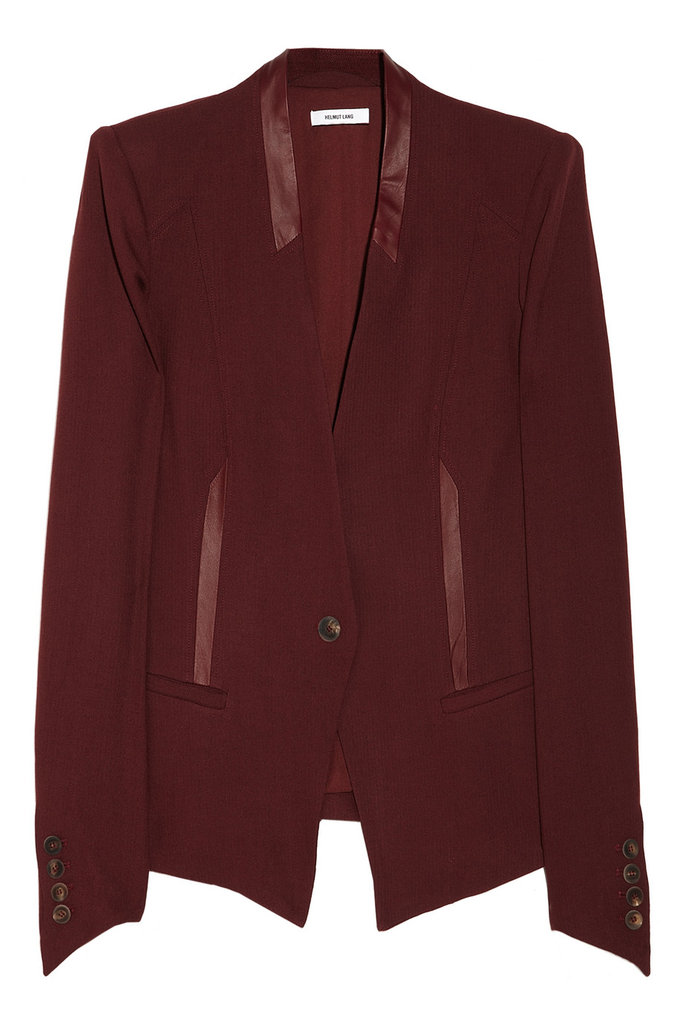 The color-injected alternative to top your leather pants and black trousers. Helmut Lang Leather-Trimmed Woven Blazer ($670)