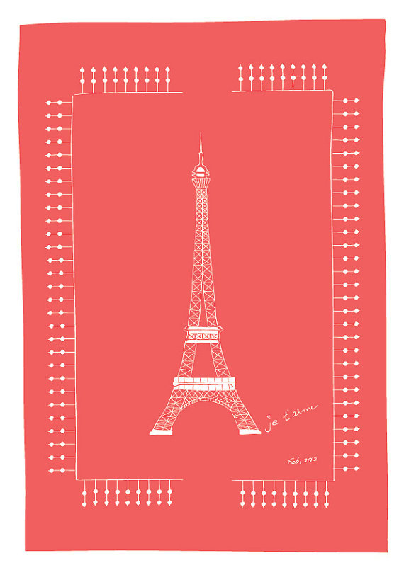 Tell your little ones you love them with the sweet and simple Eiffel Tower Je t'Aime print ($18).
